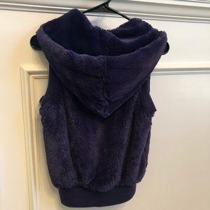 Jackets & Coats - Deep purple faux fur vest with hood
